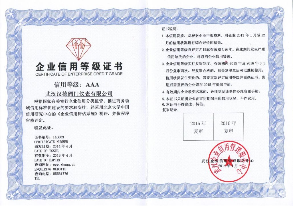 Enterprise credit rating certificate tuv (wuhan)