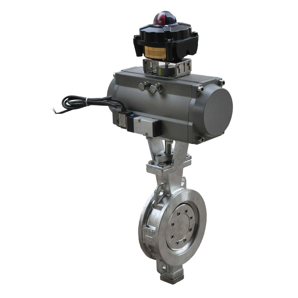 Pneumatic triple eccentric butterfly valve